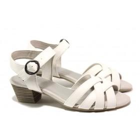 Дамски сандали - висококачествена еко-кожа - бели - EO-15573