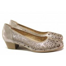 Дамски обувки на среден ток - естествена кожа - бежови - EO-15527