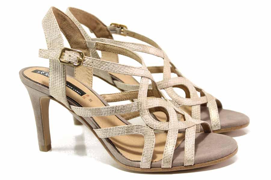 Дамски сандали - висококачествена еко-кожа - бежови - EO-15539