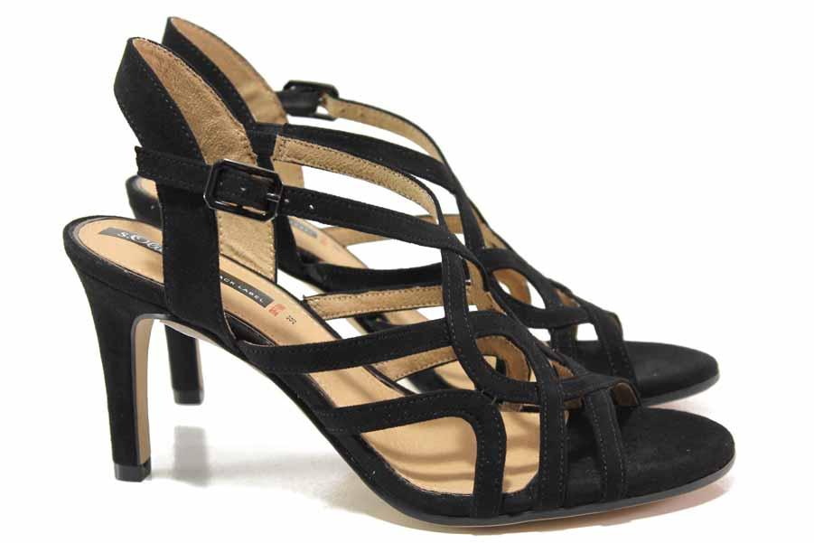 Дамски сандали - висококачествена еко-кожа - черни - EO-15555