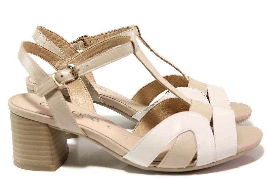 Дамски сандали - естествена кожа - бежови - EO-15576
