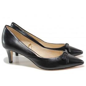 Дамски обувки на среден ток - естествена кожа - черни - EO-15580