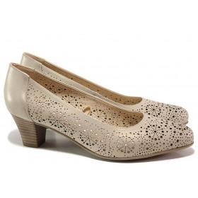 Дамски обувки на среден ток - естествена кожа с перфорация - бежови - EO-15588