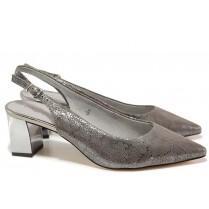 Дамски обувки на среден ток - естествена кожа - сиви - EO-15589