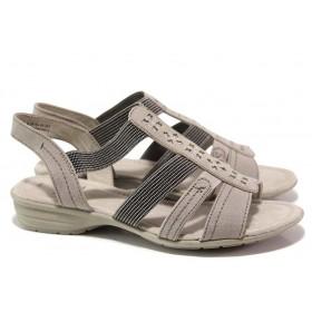 Дамски сандали - еко-кожа с текстил - бежови - EO-15577