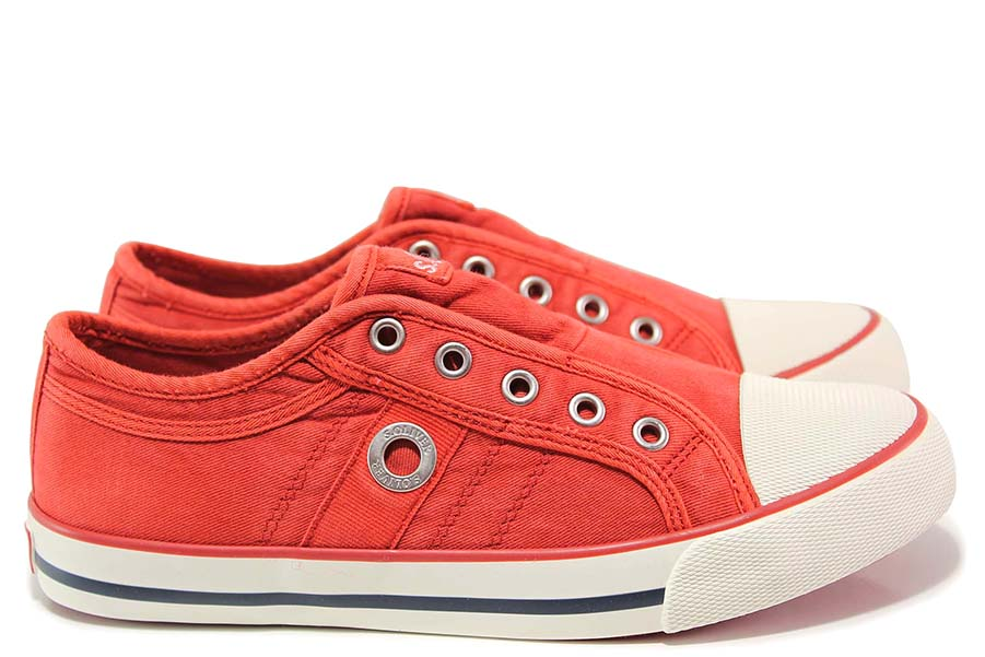 Юношески маратонки - висококачествен текстилен материал - червени - EO-15591