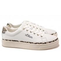 Равни дамски обувки - естествена кожа - бели - EO-15594