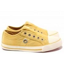 Юношески маратонки - висококачествен текстилен материал - жълти - EO-15595