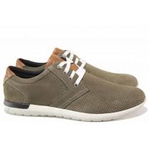Мъжки обувки - естествена кожа с естествен велур - зелени - EO-15598