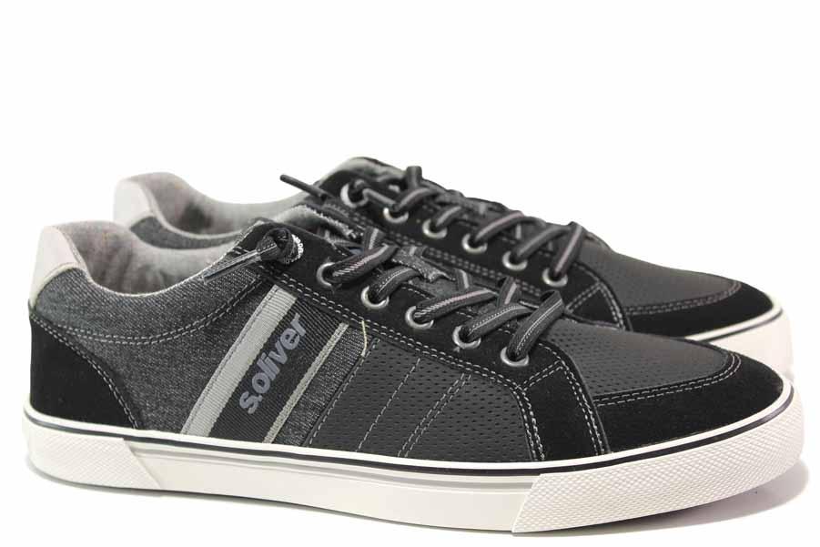 Мъжки маратонки - еко-кожа с текстил - черни - EO-15599