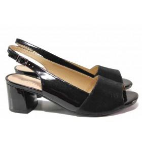 Дамски сандали - естествена кожа-лак - черни - EO-15578