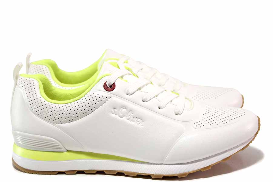 Дамски маратонки - висококачествена еко-кожа - бели - EO-15615