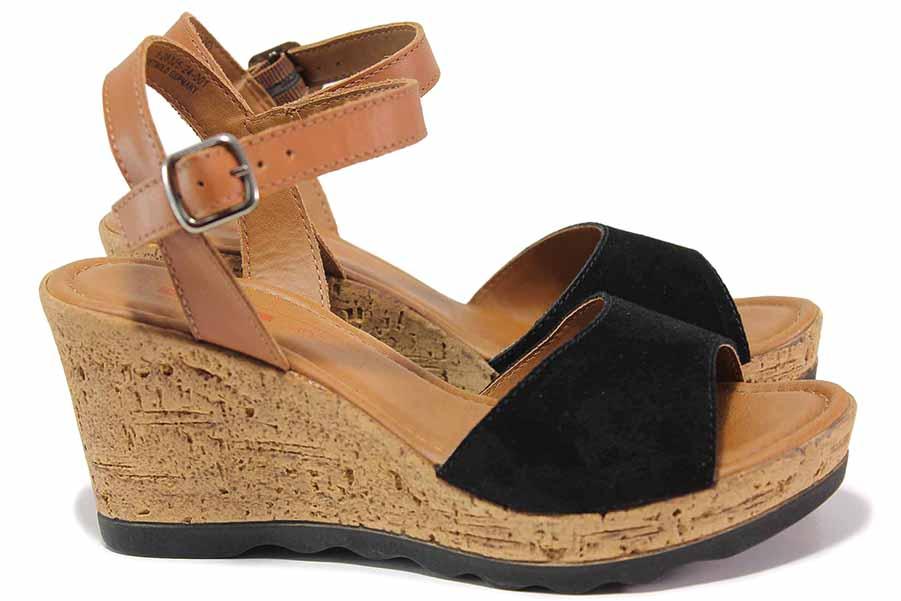 Дамски сандали - естествен набук - черни - EO-15617