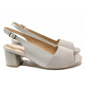 Дамски сандали - естествена кожа - светлосив - EO-15619