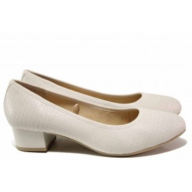 Дамски обувки на среден ток - естествена кожа - бели - EO-15621