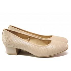 Дамски обувки на среден ток - естествена кожа - бежови - EO-15622