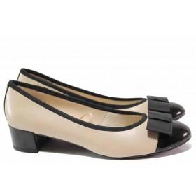 Дамски обувки на среден ток - естествена кожа - бежови - EO-15629
