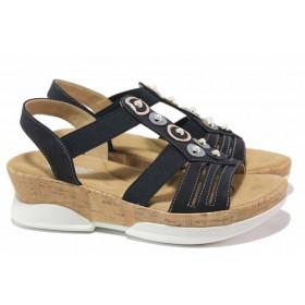 Дамски сандали - еко-кожа с текстил - тъмносин - EO-15634