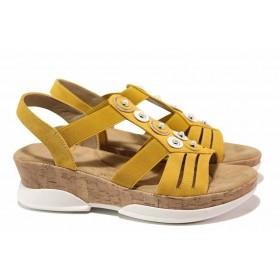 Дамски сандали - еко-кожа с текстил - жълти - EO-15635