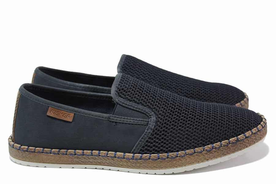 Мъжки обувки - естествена кожа в съчетание с текстил - тъмносин - EO-15633