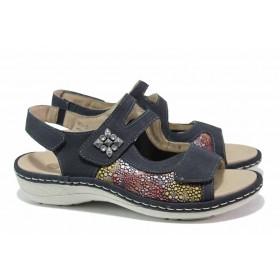 Дамски сандали - набук - тъмносин - EO-15636