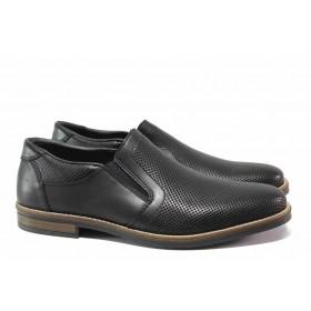 Мъжки обувки - естествена кожа в съчетание с еко-кожа - черни - EO-15685