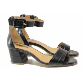Дамски сандали - висококачествена еко-кожа - черни - EO-16097
