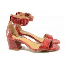 Дамски сандали - висококачествена еко-кожа - червени - EO-16098