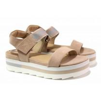 Дамски сандали - еко-кожа с текстил - розови - EO-16096