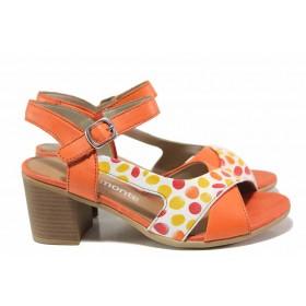 Дамски сандали - естествена кожа - червени - EO-16123