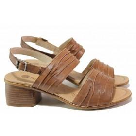Дамски сандали - естествена кожа - кафяви - EO-16126