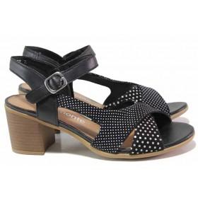 Дамски сандали - естествена кожа - черни - EO-16124