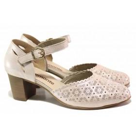 Дамски обувки на среден ток - естествена кожа - розови - EO-16129