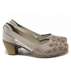 Дамски обувки на среден ток - естествена кожа - бежови - EO-16131