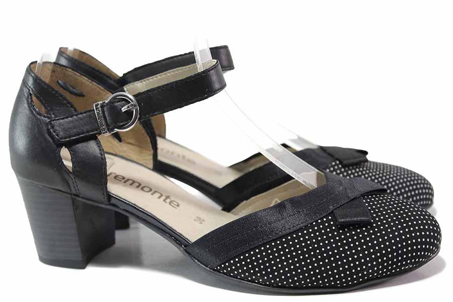 Дамски обувки на среден ток - естествена кожа - черни - EO-16185