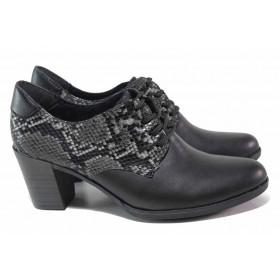 Дамски обувки на среден ток - естествена кожа - черни - EO-16812