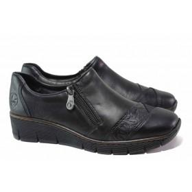 Равни дамски обувки - естествена кожа - черни - EO-16888