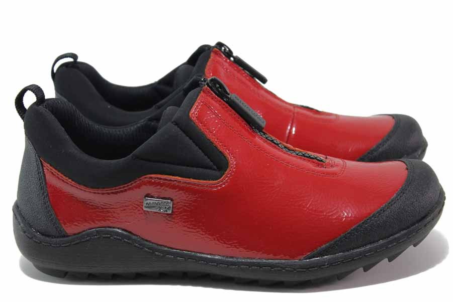 Равни дамски обувки - еко кожа-лак - червени - EO-16950