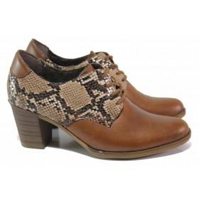 Дамски обувки на среден ток - естествена кожа - кафяви - EO-16993