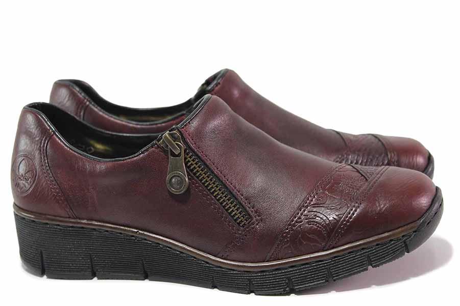 Равни дамски обувки - естествена кожа - бордо - EO-17060