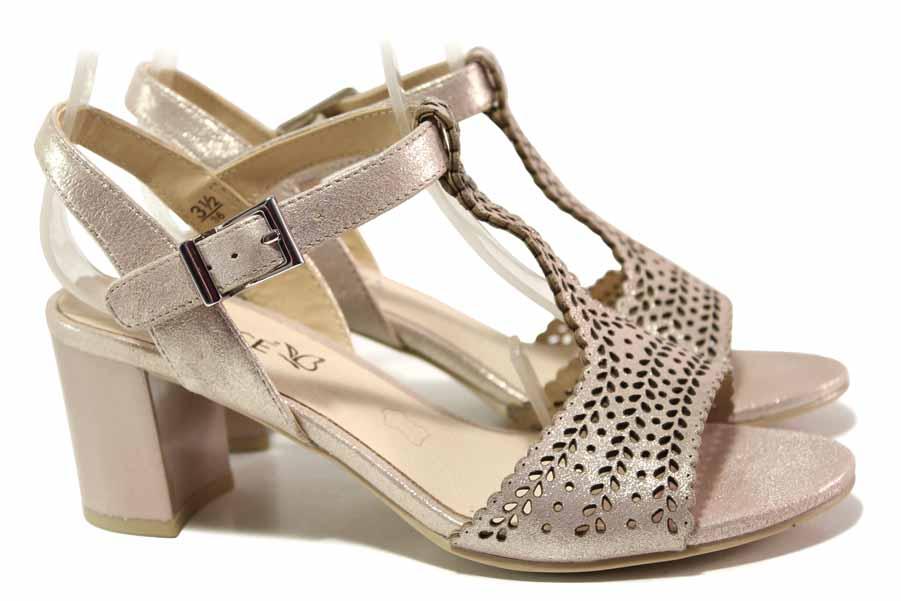 Дамски сандали - естествена кожа - розови - EO-17109