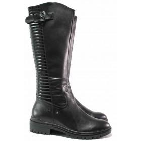 Дамски ботуши - естествена кожа - черни - EO-17119