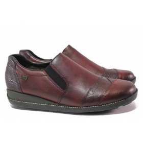 Равни дамски обувки - естествена кожа - бордо - EO-17120