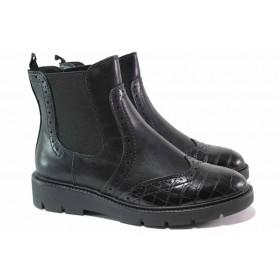 Дамски боти - висококачествена еко-кожа - черни - EO-17122