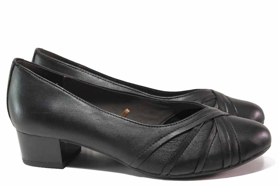 Дамски обувки на среден ток - естествена кожа - черни - EO-17139