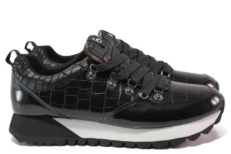 """Дамски спортни обувки - еко-кожа с """"кроко"""" мотив - черни - EO-17141"""