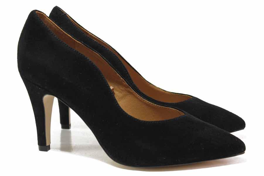 Дамски обувки на висок ток - естествен велур - черни - EO-17137