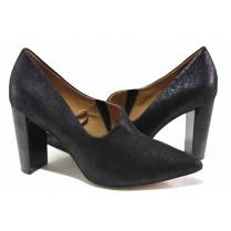 Дамски обувки на висок ток - естествен велур - тъмносин - EO-17135
