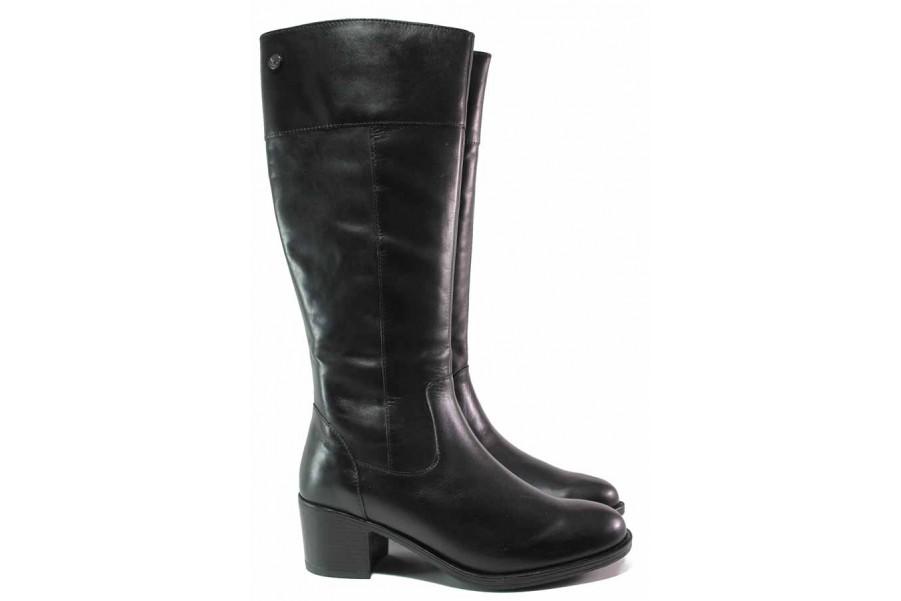 Дамски ботуши - естествена кожа - черни - EO-17125
