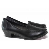 Дамски обувки на среден ток - естествена кожа - черни - EO-17153